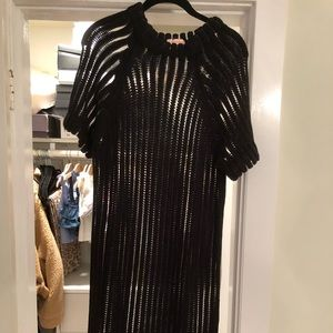 Knit /Mesh Midi Dress with scalloped edges